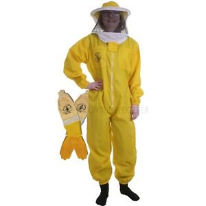 Basic Suit Yellow from Beekeeping with Round Veil & Gloves Ventilated