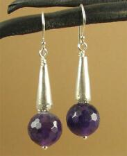 Amethyst and silver large dangle earrings. Fine & sterling silver. Handmade