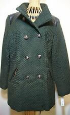 Apt 9 Double Breasted Green Textured Military Coat Womens S NEW
