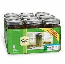 Ball Wide Mouth Glass Canning Mason Jars, Pint and 1/2 (24oz) Lids, Bands, 9 Ct.