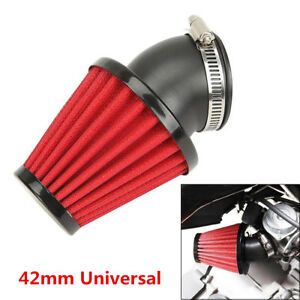 Red 42mm Air Filter Pod 45 Angled 150cc-250cc Motorcycle Scooter ATV Dirt Bike