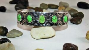 Navajo Sterling Silver Carico Lake Turquoise Cabachon Bracelet Signed D Saunders