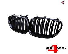 Pair For Bmw E60 E61 5 Series 2003-2010 Gloss Black Front Kidney Grille Grills