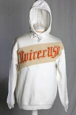 Avirex USA Toweling Logo Hoodie Fleece Pullover Men's M-L White Orange V.G.C!