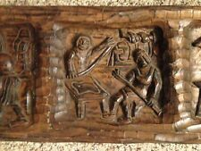Antique Vtg Hand Carved Wood Relief Panel 5 Section Made N Spain/Door Wall 39.5""