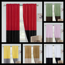 """1 SET 2-tone PATCHWORK PANELS UNLINED WINDOW CURTAIN ROD POCKET NEW 74"""" WIDE ANY"""