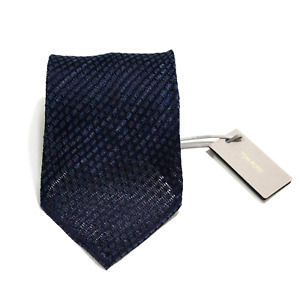 Men's Tom Ford Silk Linen Royal Blue Checked Woven Neck Tie MSRP $240