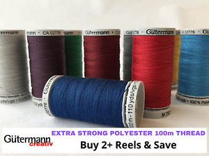 "Gutermann ""Extra Strong"" Polyester Sewing, Embroidery Thread - 100m Spool"