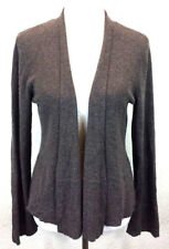 #S18 Eileen Fisher Sz PM 100% Cashmere Heather Brown Open Front Cardigan Sweater