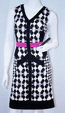 IVANKA TRUMP Black IVY Pink IVORY Dress V-NECK Back Zip 8 $160 FREE SHIPPING