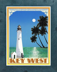 Key West Lighthouse (Framed) Vintage Art Deco Travel Poster -by Aurelio Grisanty