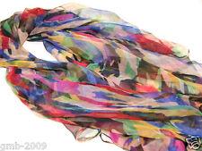 New Fashion Women's Rainbow Color 100% Silk Long Stole Wrap Scarf Scarves