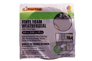 Frost King Vinyl Foam Weatherseal Strip Insulation Self Stick Window Door 17'NEW