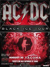 "AC-DC ""BLACK ICE TOUR"" 2009 SEATTLE-TACOMA CONCERT POSTER - Oz Heavy Metal Rock"