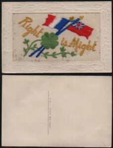 WW1 embroidered card 'Right is Might'