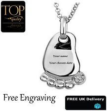 Baby Foot Pendant Personalised Engraved Name Necklace With Swarovski Element UK