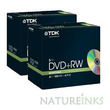 10 Genuine TDK Blank DVD+RW discs 4x 4.7GB 120 mins Rewritable Jewel Case 18444