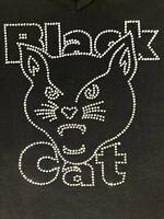 Black Cat Fireworks Adult Women's Extra Large Rhinestones Bling T-Shirt Top L@@K