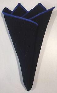 Pocket Square Handmade Black With Blue Stitched Borders By Squaretrapnyny.com