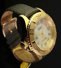 INVICTA MENS SWISS 18K  GP PRO DIVER WHITE MOTHER OF PEARL W GREY LEATHER BAND