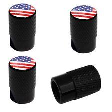 4 Black Billet Aluminum Knurled Tire Air Valve Stem Caps - USA FLAG RWB DO1