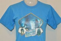 vintage 80s EMPIRE STRIKES BACK ORIGINAL GLITTER IRON ON BLUE t-shirt YOUTH M