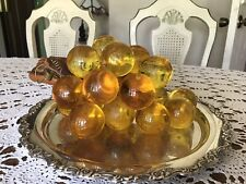 Vintage -Yellow -Lucite Cluster Of Grapes On Driftwood - Mid-Century -Modern