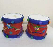 Vintage Set of 2 Dept 56 Christmas Drum Ornaments Bright and Colorful