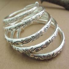 Tibetan Tibet Silver Carved Flower Totem Bangle Cuff Bangles Bracelet Adjustable