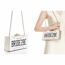 KATE SPADE NEW YORK WEDDING BELLES BRIDE 2 BE LICENSE PLATE CLUTCH PURSE