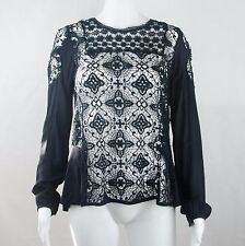 Wish Black Lace Long Sleeve Back Button Blouse Size 6