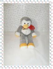 =  - Doudou Peluche Pingouin Gris Blanc Jaune Rouge  Grelot Baby Nat