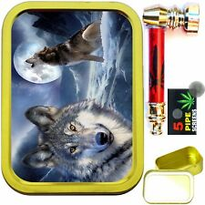 WOLF MOON 2oz GOLD TOBACCO TIN WITH METAL SMOKING PIPE & SCREENS