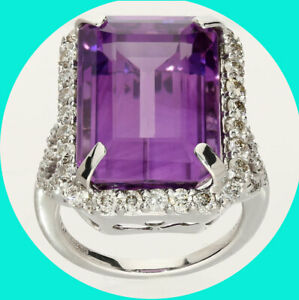 18.83CT Amethyst diamond halo ring 14K WG emerald cut round brilliant 11GM 6 3/4