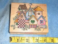 HERO ARTS Large Birdhouses Rubber Wood mounted Stamp vintage 1990's RARE