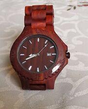 Fashion Wooden Watch Red Sandal Wood  Unisex Wristwatch Quartz Watch