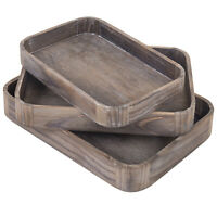 MyGift Set of 3 Vintage Gray Wood Nesting Serving Trays with Rounded Edges