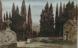 Italy, Italian view Original Framed Signed Etching By Wilfred Huggins 1873–1949