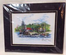 JOHN CAPONE SIGNED PRINT,  LAHAINA MAUI HAWAII PEN & INK W/ WATERCOLOR OVERLAY