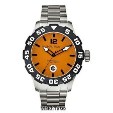 * NEW NAUTICA WATCH for MEN * BFD 100 * Orange Dial * Stainless Steel * N18623G