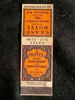 Grand Hotel,Anderson, Indiana 1930-40s Matchbook Cover~