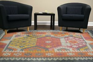 100% Wool Area Floor Rug Handmade Kilim Home Decor Hand Knotted Geometric 4x6Ft