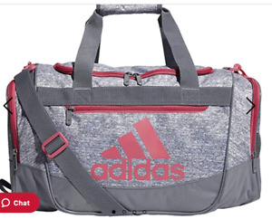 adidas Unisex Defender III Small Duffel Bag, Grey Jersey/ Grey/ Real Pink, Small