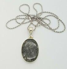 "Sterling Silver 925 Black Tourmaline Quartz Crystal Rutile Stones Necklace 24"""