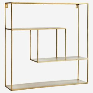 Square Iron Wall Hung 3 Tier Gold Brass Shelf, Modern Shelving Display Unit