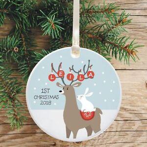 Ceramic Keepsake Baby's 1st Christmas Tree Decoration - Reindeer and Rabbit