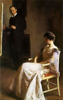 Oil painting joseph rodefer de camp - in the studio artist with his model canvas
