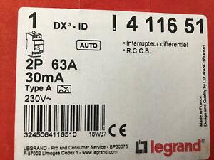 Legrand 411651 - Interrupteur différentiel DX³-ID AUTO 2P 230V~ 63A typeA 30mA