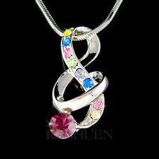 ~Rainbow TREBLE g CLEF~ made with Swarovski Crystal music Musical Note Necklace