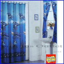 New  Dolphin  Fabric Shower Curtain Window Curtain Set with Liner 12 PC Rings